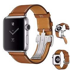 Wristwatch Bands Swees Leather Band Compatible Iwatch 38mm 40mm Genuine Leather Elegant Dressy 4