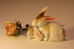 Bunny mommy and babies, made in Japan, circa 1950s