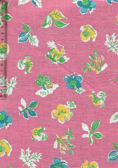 Vintage feedsack fabric- flowers, deer and chickens on pink #vintage #retro #interiors #gogreen #patchwork #sew #collect #americana