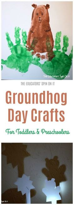 Groundhog Day Crafts and Activities for Preschoolers and Toddlers. - Groundhog Day Crafts for Preschool and Toddlers. Fun crafts, recipes and shadow ideas for learning - Toddler Art, Toddler Preschool, Toddler Activities, Toddler Classroom, Toddler Teacher, Classroom Ideas, Preschool Groundhog, Groundhog Day Activities, Daycare Crafts