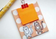 Mini Clipboard  Cat Sticky Notes Holder  by CraftyMushroomCards