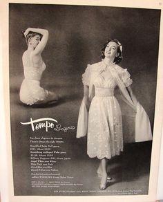 1950s Tempo Lingerie, Peignoir Set, matching panties