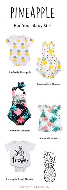 FREE USA SHIPPING! Cute clothes for your baby girl! This summer the pineapple is the most fashionable fruit. Baby girl clothes, Fashion baby, Baby fashion, baby and toddler outfits, Cutest outfits for summer. Lenny Lemons, Toddler and Baby Apparel.