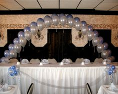 Pearl Arch Head Table Backdrop Decor By Balloons Design Madison WI