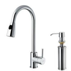 Vigo Chrome Pullout Spray Kitchen Faucet with Soap Dispenser