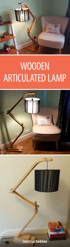 Wooden Articulated Lamp #lighting #woodworking