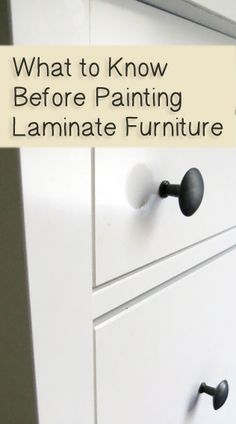 What to Know Before Painting Laminate Furniture - tips and suggestions about things that can go wrong when painting laminate furniture. Use Rustoleum Cabinet Transformations for easy way to paint laminate furniture! Old Furniture, Furniture Projects, Furniture Making, Furniture Makeover, Home Projects, Rustic Furniture, Furniture Websites, Furniture Dolly, Furniture Stores