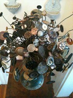 vintage buttons as floral arrangement