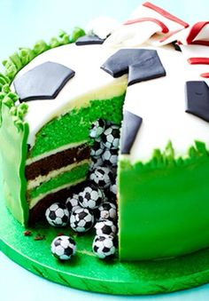 Surprise Piñata Football Cake How-To ~ Slice into this sensational mint chocolate celebration cake and let the hidden sweets pour out for your party guests to enjoy: cake decorating recipes kuchen kindergeburtstag cakes ideas Sport Cakes, Soccer Cakes, Soccer Ball Cake, Soccer Party, Soccer Birthday Cakes, Football Cakes For Boys, Birthday Cup, Sports Party, Football Cake Decorations