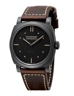 @paneraiofficial's latest version of its Panerai Radiomir 1940 3 Days Ceramica blends history and modernity — with a contemporary, matte-black ceramic case and a minimalist dial inspired by the brand's history as a supplier of timepieces to the Royal Italian Navy; the case measures  48 mm in diameter and is water resistant to 100 meters. #panerai #watchtime #luxurywatch #watchgeek #wristporn