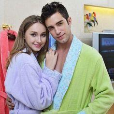 Peignoir vert et violet en coton pour couple