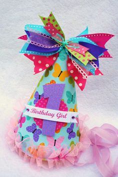 butterfly birthday party hat in aqua, purple, pink, & lime green