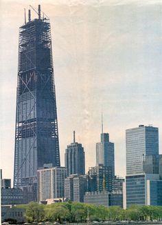 The John Hancock Center under construction in Chicago, circa 1970-73