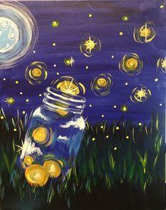 Acrylic Art, Acrylic Painting Canvas, Easy Acrylic Paintings, Acrylic Painting Inspiration, Moon Painting, Firefly Painting, Firefly Drawing, Firefly Art, Simple Canvas Paintings