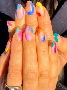 Made up of blocky swoops, squiggly swipes and erratic dots, these are the abstract nail designs you need to try. Best Acrylic Nails, Acrylic Nail Designs, Nail Art Designs, Clear Nail Designs, Abstract Designs, Clear Nails With Design, Funky Nail Designs, Different Nail Designs, Nail Design Stiletto