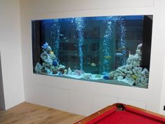 An aquarium is a pleasing method of displaying that you just love nature and that you have a must cope with it. A home aquarium is likely one of the House Design, Creative Walls, Divider Wall, Decor, Interior Design, Interior, Fish Tank Wall, Home Decor, Room