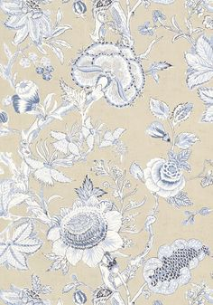 Thibaut Rittenhouse wallpaper in blue and tan Kitchen Wallpaper, Love Wallpaper, Fabric Wallpaper, Designer Wallpaper, Flower Patterns, Print Patterns, Fabric Design, Pattern Design, Blue Wallpapers