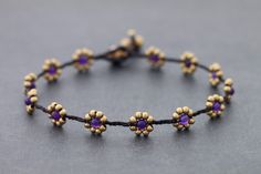 Amethyst+Daisy+Brass+Braided+Anklet+by+XtraVirgin+on+Etsy,+$8.00