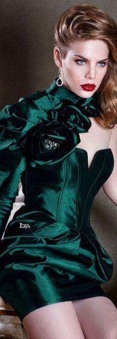 Tarik Ediz ❤❤❤ and Cool Winter, Deep Winter, Fashion Moda, Womens Fashion, Green Silk, Green Fashion, Shades Of Green, My Favorite Color, Green Dress