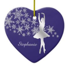 Silver Snowflake Ballerina Blue Ceramic Ornament - home gifts ideas decor special unique custom individual customized individualized