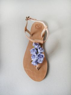 Bridal shoes  Handmade leather sandals decorated with by MyMarmade, €34.00