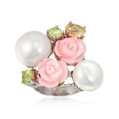 Ross-Simons - 11.5-14.5mm Cultured Pearls and Pink Coral Flower Ring With Multi-Stones in Sterling Silver - #793287