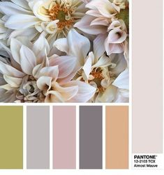 This color palette based on Pantone's top picks for spring 2018 is positively mauve-lous! Color Schemes Colour Palettes, Colour Pallette, Color Palate, Color Trends, Color Combos, Coordinating Colors, Color Stories, Color Swatches, Pantone Color