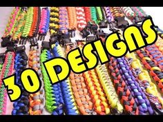30 Paracord Designs in 2 Minutes - All Paracord Survival Bracelets - BoredParacord - YouTube