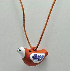 Vintage Clay Enamel Bird Whistle  Pendant by ANTIQUEANDVINTAGE, $12.97