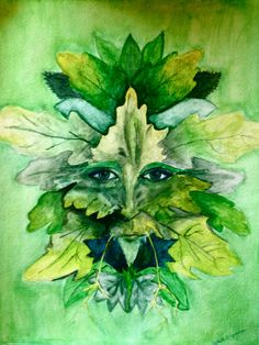 original art by gloria e man in leafs. green. leafs. water color. eyes.