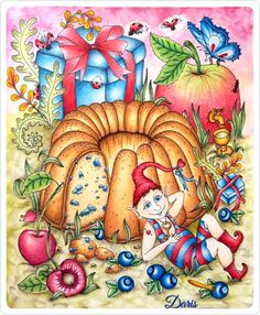 Tenderful Enchantments-cake Colored by Daris Black Lights, Colored Pencil Techniques, Markova, Pencil And Paper, Colorful Cakes, Coloring Book Pages, Whimsical Art, Color Inspiration, Sketches