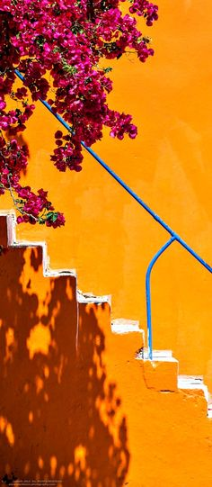 Colorful Staircase & Beautiful Bougainvillea Flowers ~ Greece