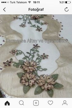 This Pin was discovered by Yaf Coffee Table Runner, Table Runners, Ribbon Embroidery, Embroidery Designs, Cut Work, Needle Lace, Lace Making, Christmas Stockings, Tatting