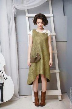 Felted dress | Купить Валяный сарафан Листва - хаки, однотонный, авторская модель, спортивный…