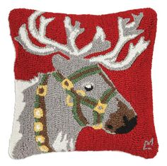 Beautiful Hand Hooked Reindeer Pillow at TheHolidayBarn.com Perfect Christmas Decoration.