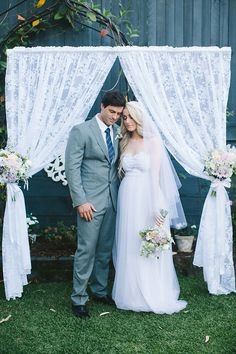 lace curtains, photo by Bek Grace http://ruffledblog.com/garden-queensland-wedding #ceremony #lace #weddingideas