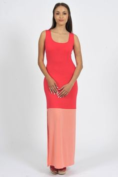 Diligo coral colour block maxi dress with side slit | www.diligo.co.za Colour Block, Color Blocking, Coral Colour, Spring Summer, Formal Dresses, Fashion Design, Shopping, Collection, Women
