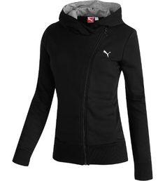 PUMA Asymmetrical Zip-Up Hoodie, black