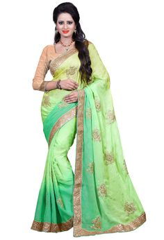 $39.25 Mint Green Georgette Party Wear Saree 56359