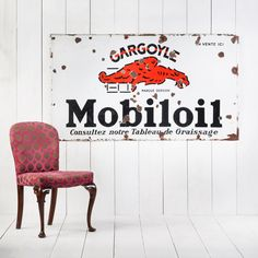 Fantastic, large + early Mobiloil Enamel Sign. Enamel, Sign, Antiques, Home Decor, Homemade Home Decor, Antiquities, Enamels, Vitreous Enamel, Antique