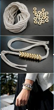 DIY Nut Bracelet:    Start braiding using a hemp string or an other sturdy but flexible string. at a certain part start adding a nut on every other outside string so it will look like the middle picture.   In stead of a braid you can add on other friendship bracelets and hook on the part with the nuts.