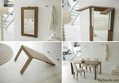 Folding Wall Table Ideas Saving Space 30 Space Saving Folding Table Design Ideas for Functional Small Rooms Folding Furniture, Folding Walls, Multifunctional Furniture, Space Saving Furniture, Home Furniture, Furniture Design, Furniture Ideas, Multipurpose Furniture, Kitchen Furniture
