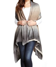 Another great find on #zulily! Beige & Smoke Ombré Open Sidetail Cardigan #zulilyfinds