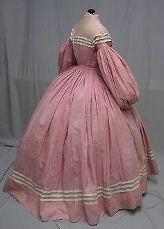Spectacular 1860's Civil War Era Pink Cotton Daytime Ensemble