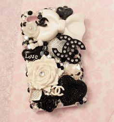 Black and White Luxury Decoden Iphone 4/4S Case by HELLOxSUGAR, $65.00