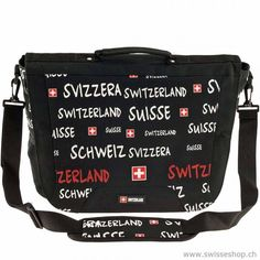 Umhängetasche mit Schriften Switzerland, schwarz / Bag with writings Switzerland, black Ideal size for a bag. The quality is good and the Bändel does not cut into the shoulders after a long walk.