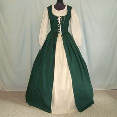 Renaissance Dress - Irish Overdress And Underskirt - Custom Size, Color - Medieval Costume Gown, Celtic Faire, SCA, LARP. $115.00, via Etsy.
