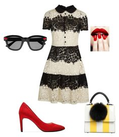 """""""Red, yellow touch to the B&W stripes"""" by teodora-gigova on Polyvore featuring RED Valentino, Cole Haan, Les Petits Joueurs and Yves Saint Laurent"""