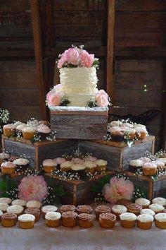Wood Cupcake Stand, Rustic Cupcake Stands, Rustic Cupcakes, Wedding Cakes With Cupcakes, Cupcake Cakes, 6 Cake, Rustic Cupcake Display, Cupcake Stands For Weddings, Wedding Cupcake Table