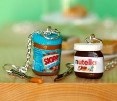 Best friend necklace (Peanutbutter and Nutella edition) OMG these are so cute!! MEEGS!! She loves Nutella and I love peanut butter! Those are adorable! But they probably would look weird if your just wearing a necklace with a PeanutButter jar on it or a Nutella jar on it lol haha Meegssss!!!